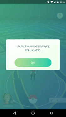 pokemon go update warning message